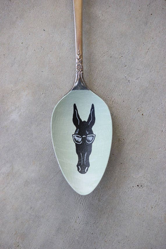 Cool Mule, Unique, Collectible Painted Spoon, Equine art, Small Gift, Horse art, ornament, mule art, mint green, Columbia Tennessee art