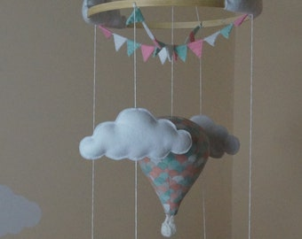 Hot air balloon nursery mobile mint and pink Scallop