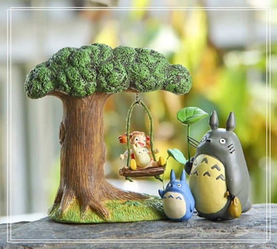 Tree Swing Mei Totoro Fairy Garden Accessories Home Decor Ornaments  Miniature Fairies Figure DisplaySucculent Terrarium Outdoor Fairies