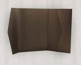 10 Horizontal Pocket Enclosures - Brown - DIY Invitations - Invitation Enclosures for Weddings and Other Events