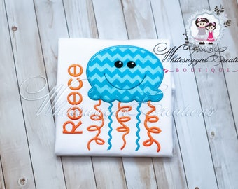 Boy Jelly Fish Shirt - Custom Shirt - Baby Boy Embroidered Shirt - Summer Jelly Fish Shirt