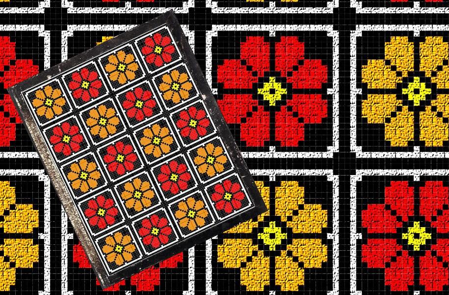 Flamme Blumen Decke C2C häkeln Muster/Tabelle/Diagramm PLUS