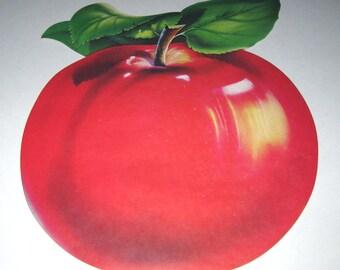 Vintage 1950s Dennison Apple Die Cut Cardboard Decoration