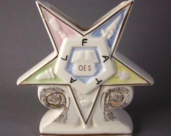 Vintage Masonic Order Eastern Star Ceramic Vase Pottery Planter Kistner Chicago