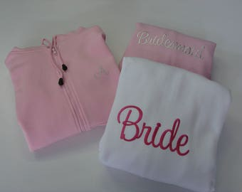Hoodies - 6 pack for the wedding party with monogrammed initials on the front.
