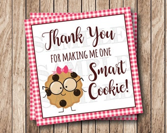 Instant Download . Printable One Smart Cookie Tags. Printable Thank You For Making Me One Smart Cookie Tags, Pink Gingham
