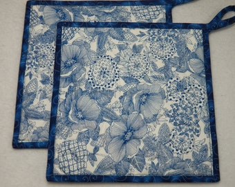 """TWO Blue Floral Potholders, 8.5"""" Square, Quilted Potholders, Blue and White Potholders, Reversible Potholders, Flowery Potholders, Washable"""