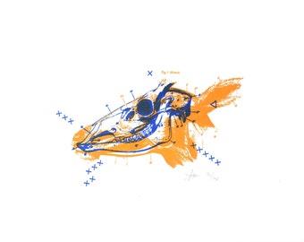 Predator & Prey - Deer - 2-Color Letterpress Print - Taxidermy/Bones/Skulls