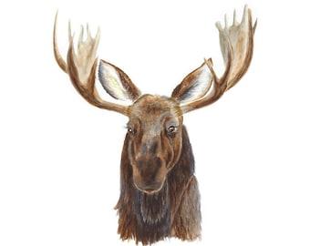 Woodland Animal Painting, Moose Decor, Nursery Print, Moose Painting, Woodland Nursery, Moose Print, Moose Nursery, Antlers, Brown, Grey
