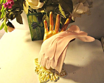 Pink Gloves with Embroidery Cuff length Nylon 6 1/2