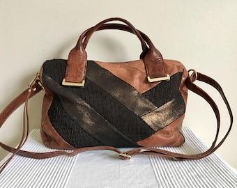 Vintage Elliott Lucca Brown Patchwork Leather Hobo Satchel Shoulder Bag Purse