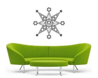 Metatron Star Vinyl Wall Decal   Mandala Sacred geometry, sticker art, rainbow Holographic
