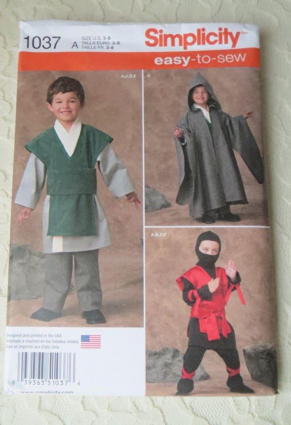 Simplicity 1037 Sewing Pattern Star Wars, Martial Arts, Ninja, Yoda ...