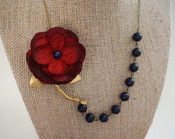 Statement Necklace Red Necklace Navy Blue Necklace Flower Necklace Beaded Necklace Bib Necklace Stem Necklace Wedding Necklace Gift