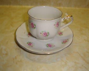 vintage teacup saucer set japan bone china pink roses