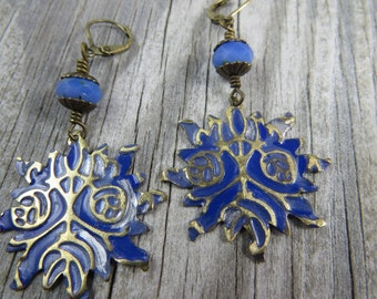Antique brass embossed metal earrings in periwinkle blue with Czech glass, Boho, Bohemian, shabby Chic