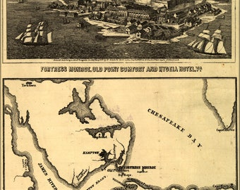 Poster, Many Sizes Available; Map Of Fortress Monroe And Surroundings Fort