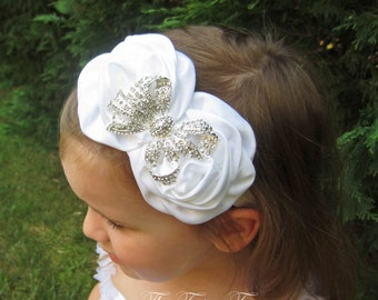 White Flower Headband, Satin Rosette Duo w/ Rhinestone Bow Stretchy Headband, Baptism, Christening, Wedding, Baby Child Girls Headband