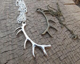 Antler Necklace // Deer Antler // Metal Antler // Deer Necklace // Christmas Necklace //  Horn Necklace // Metal Necklace // Metal Antler