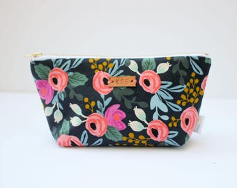 Monogrammed Cosmetic Bag, Personalized Zipper Pouch, Rifle Paper Co Makeup Bag, Small Floral Zipper Pouch, Monogram Toiletry Pouch