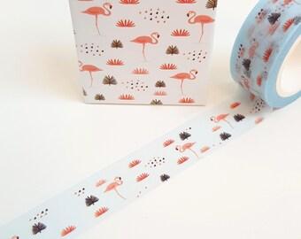 Blue Backed Flamingo Washi Tape