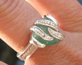 Green Chrysoprase & Sterling Ring Size 7.25