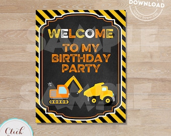 Construction Welcome Sign, Construction Birthday Sign,  Dump Truck Party, Birthday Party Sign, Chalkboard, Door Sign INSTANT DOWNLOAD