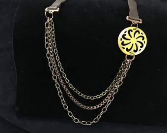 Asymmetrical Enamel and Chain Necklace- Yellow