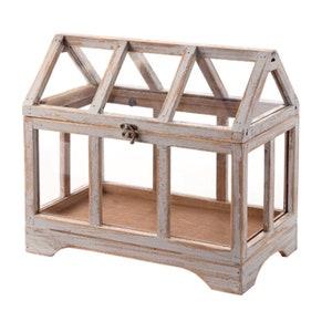 Wood and glass terrarium. Rustic terrarium, farmhouse terrarium, fairy terrarium, fairy accessories, miniature garden accessories