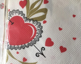 1970's Gibson Large Size Crepe Paper Valentine's Tablecloth