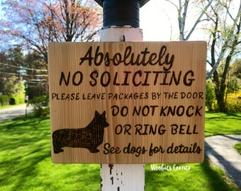 Well known No soliciting see dogs for details Funny soliciting sign XM52
