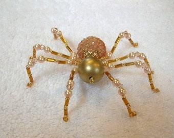 Beaded Spider Decoration in Golden Peach - Halloween Ornament, Christmas Spider