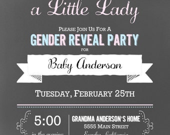 Chalkboard Little Man & Little Lady Gender Reveal Party Invitation