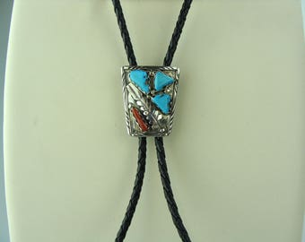 Vintage Men's Authentic Navajo Silver Bolo Tie  with Turquoise and Coral