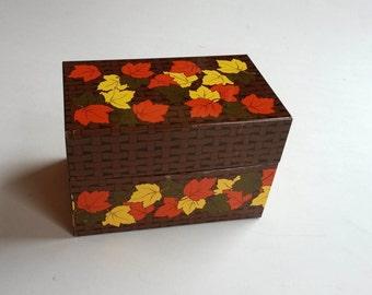 Vintage metal recipe box, Fall leaves retro kitchen decor, vintage tin, vintage box