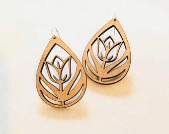 Wood Tulip Earrings - Eco-friendly Fashion Besties, Sisters, Mom, LDR, 5th Anniversary