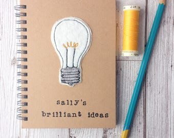 Personalised embroidered brilliant ideas notebook, freehand embroidered lightbulb, hand stamped notebook,  plain notebook, gift for teacher