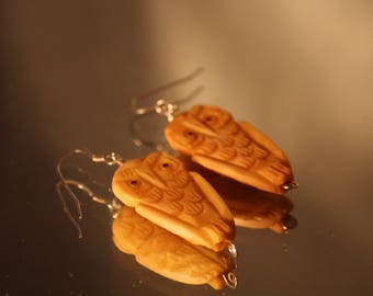 Sterling Silver Fish Hook Owl Earrings