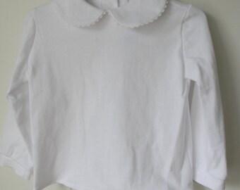 Girl White KNIT Peter Pan Collar Long Sleeve Blouse Shirt
