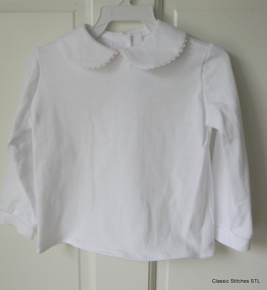 Well known Girl White KNIT Peter Pan Collar Long Sleeve Blouse Shirt EY54