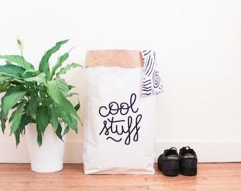 Paperbag / storage bag / toy storage / storage of books magazines / laundry basket / white kraft hanprinted / Cool Stuff