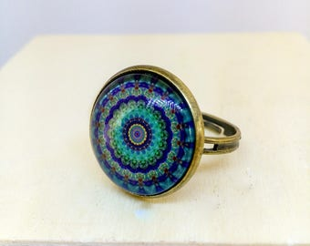 Adjustable Mandala ring, Blue green ring, Mandala jewelry, Spiritual jewelry, Oriental ring, Asian jewelry, Yoga, Glass dome Brass bronze