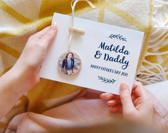 PERSONALISED DADDY And Me PHOTOGRAPH Keepsake Card Father's Day Card Personalised Fathers Gift For Dad Sentimental Daddy Gift From The Kids