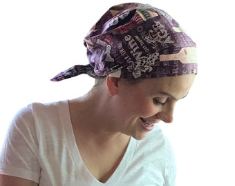 Sandra Scarf, A Women's Surgical Scrub Cap, Cancer Headwear, Chemo Head Scarf, Alopecia Hat, Head Wrap, Head Cover, Hair Loss - Wines