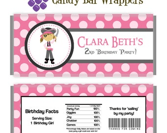 Pirate Candy Wrapper - Pink Polka Dots,  Adorable Girl Pirate Personalized Birthday Party Favor Candy Bar Wraps - A Digital Printable File