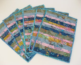 Quilted Placemats, Blue Placemats, Set Of 6 Placemats, Kitchen Placemats, Batik Placemats, Handmade Placemats, Linens, Gifts Under 50.