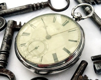 Superb very low serial number 19thC 1876 solid silver English fusee pocket watch.