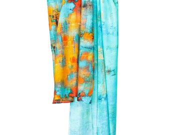 Screen Printed Fine Wool Stole - PavoSF
