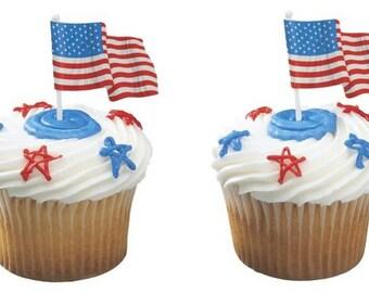 American Flag Cupcake Topper - 6/Pack