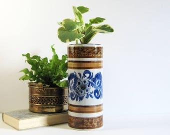 "Vintage Flow Blue Ceramic Flower Vase - 9"" Tall Cylinder Vase - Mexico Art Pottery - Brown Stripes - Blue Home Decor - Tall Ceramic Planter"